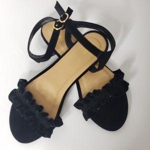 Bamboo Black Ruffle Velvet Sandals